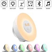 Alarm Clock Home-Neat Wake Up Light Table Bedside Lamp [2019 Upgraded] Bluetooth Speaker FM Radio, Nature Sounds and Touch Control Function (Bluetooth)