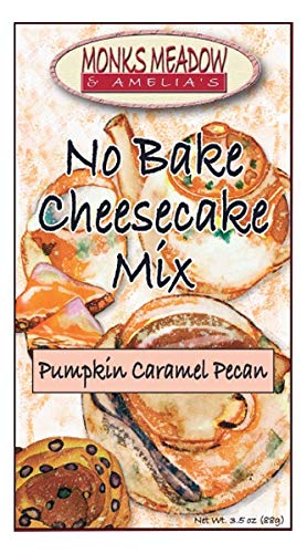 Monks Meadow Pumpkin Caramel Pecan - Pie No Bake Cheesecake Mix in 5 oz box with easy to make instructions on Box (No Bake Cheesecake, Pumpkin Caramel Pecan - Pie Mix Pecan