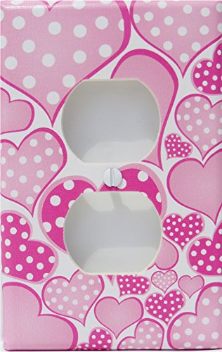 Polka Dot Pink Pastel Heart Outlet Cover Switch Plate