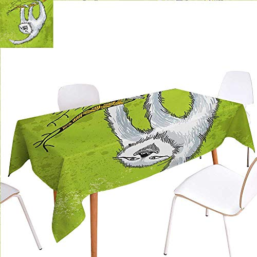 Ashley Clutch (familytaste Sloth Patterned Tablecloth Smiling Sloth Clutches Hanging on a Branch Habitat Wildlife Dust-Proof Oblong Tablecloth 60