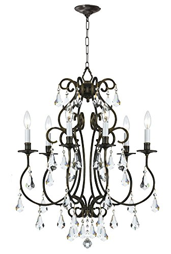 Accents Light Six Chandelier (Crystorama 5016-EB-CL-MWP Crystal Accents Six Light Chandeliers from Ashton collection in Bronze/Darkfinish,)