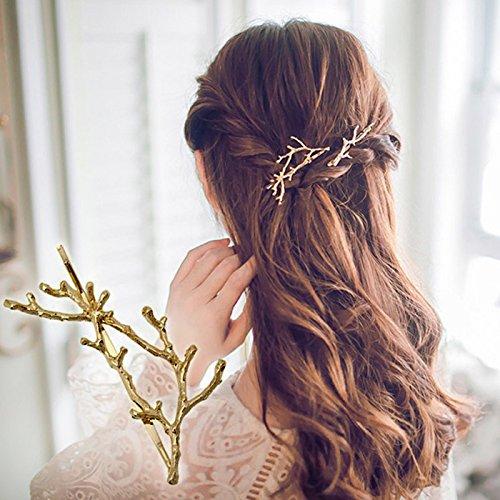 Wetietir 2Pcs Vintage Metal Antler Branchs Hairpin Hair Clips Hair Accessories