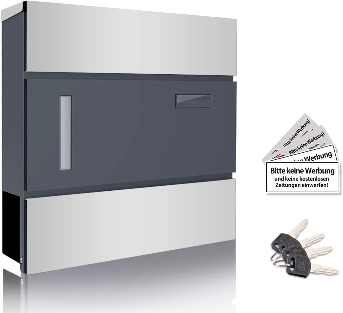 Buzón de Acero Inoxidable con Compartimento para el periódico, Placa para Nombre, buzón de Pared, Metal, Silber & Anthrazit, 37cm x 10,5cm x 36,5cm: Amazon.es: Hogar