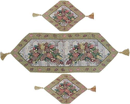 DaDa Bedding TR-6068 3-Piece Christmas Fiesta Woven Table Runner, Floral