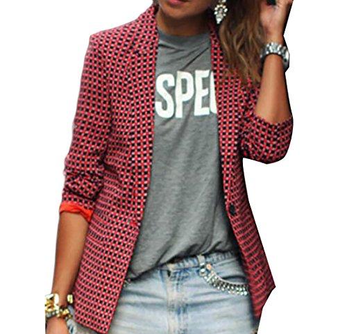 WANSHIYISHE Womens Plaid Notch Lapel One Button Long Sleeve Blazer Jacket Red US XL