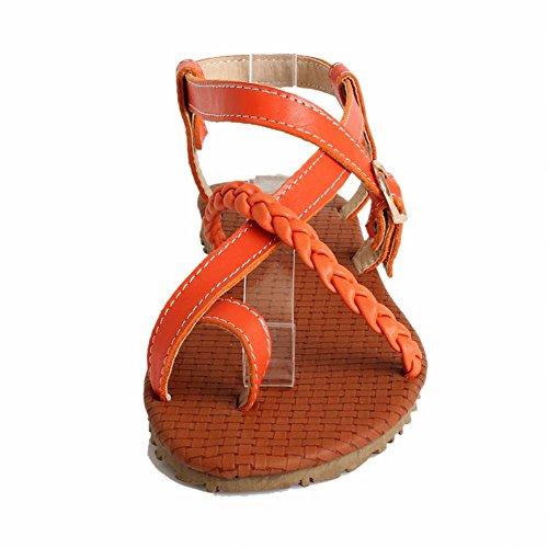 Carol Shoes Womens Buckle Casual Comfort Summer Fashion Flats Sandali Arancione