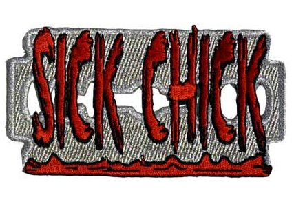 Creepy Zombie Sick Chick Bloody Blade Applique Novelty Iron On Patch