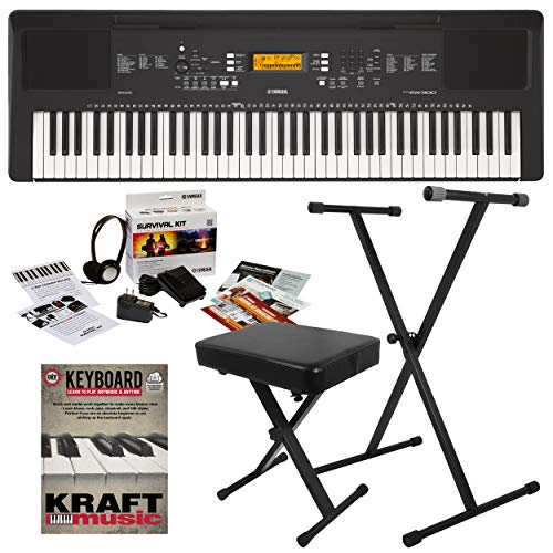 Yamaha PSR-EW300 Portable Keyboard with Stand, Bench, and Survival kit
