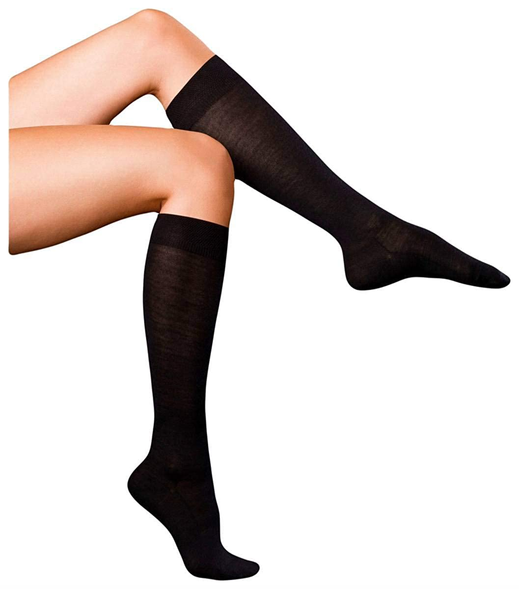 Falke Womens Finest No3 Merino and Silk Knee High Socks  Dark Navy