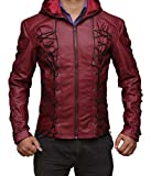 BlingSoul Arsenal Red Arrow Jacket With Hood - Mens Real Leather Jacket (S)