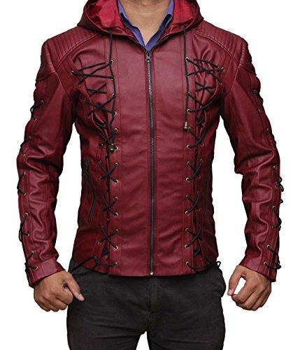 BlingSoul Colton Haynes Red Leather Jacket Men - Red Arrow Costume Jacket (Red Arrow Superhero Costume)