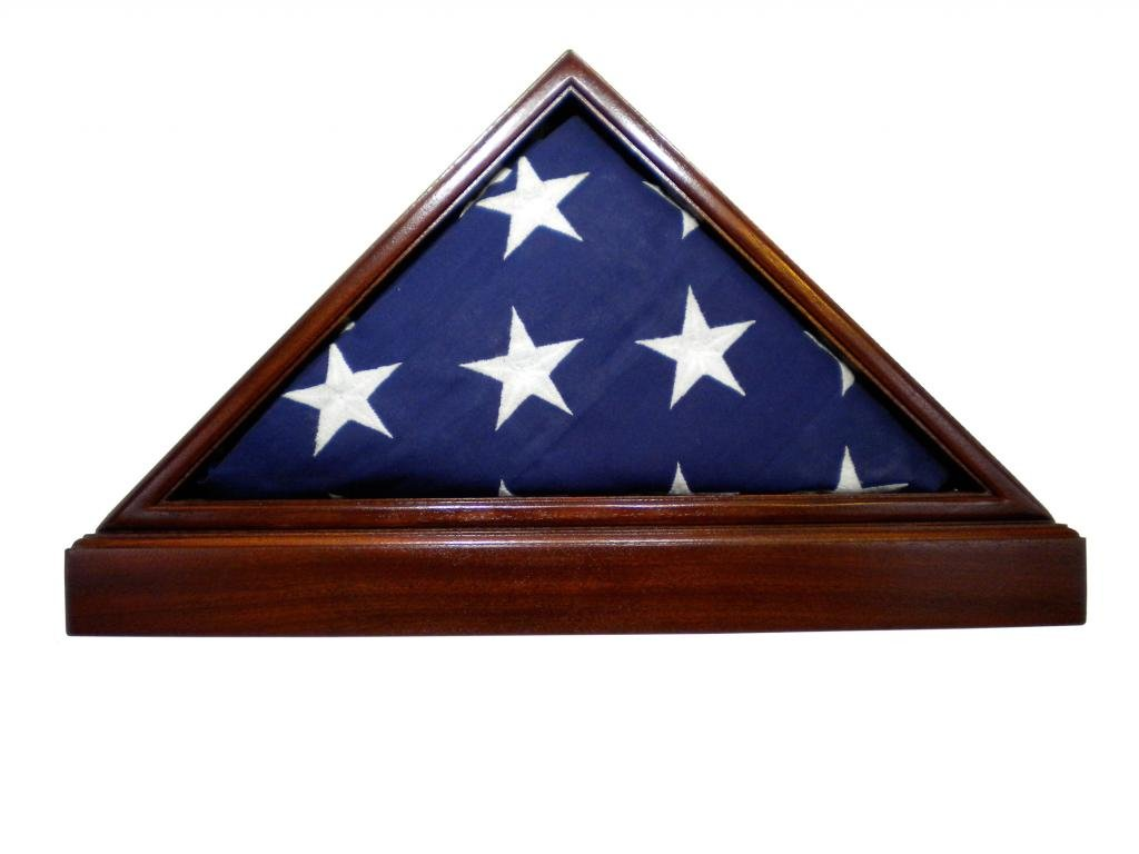 USA Made Solid Mahogany Flag Case & Base for 5 x 9.5' Memorial Burial Flag, Fine Furniture Quality by USAFlagCases