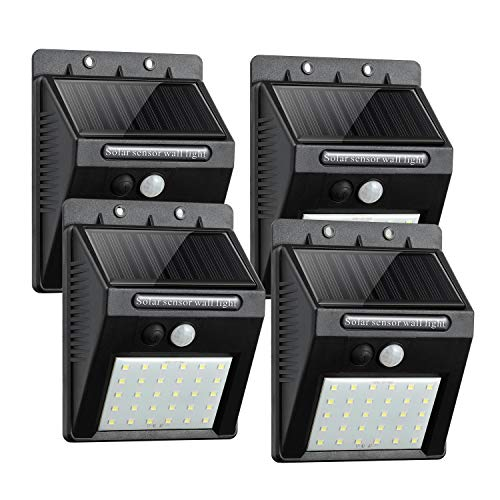 Outdoor Solar Lights, ComLeds 30 LEDS Motion Sensor Light Wireless Security Lights Wide Angle Lighting with 3 Working Mode Waterproof(IP65) Solar Light for Porch Front Door Yard Garage Driveway 4Packs