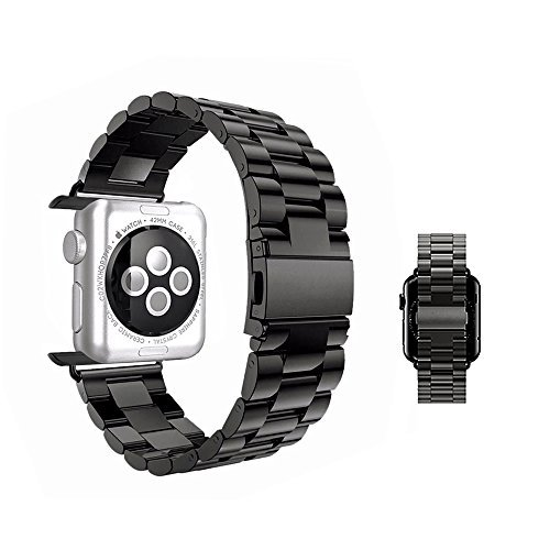 Price comparison product image iWatch Band 42mm - MixcTech Stainless Steel Wrist Bracelet Clasp with Milled Polishing Shiny Solid Connector Buckle Strap for iWatch (black)