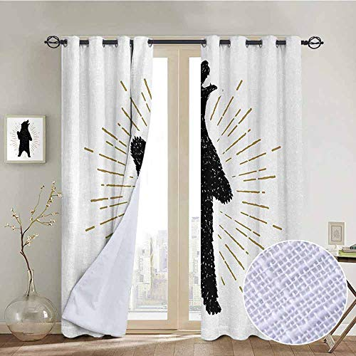 NUOMANAN Print Curtains for Bedroom Curtain Bear,Sketch of Tribal Icon with Roaring Grizzly Bear and Sunburst Effect Vintage Wildlife,Black White,Grommet Window Treatment Set for Living Room 52