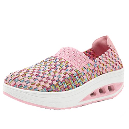 Binying Women's Breathable Woven Slip on Shoes Pink
