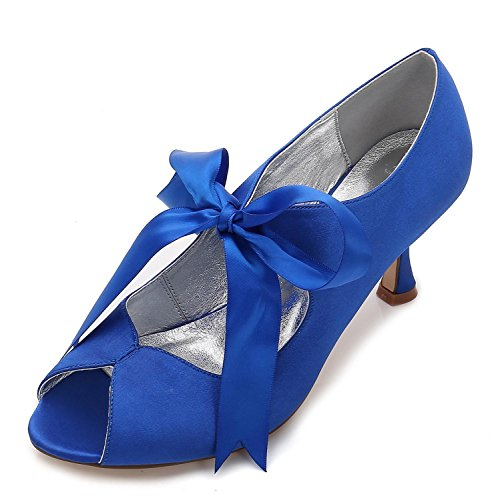 L@YC Women's Satin and Lace Peep Toe P17061-22 High Heel Ribbon Summer Bridal Shoes Wedding Blue