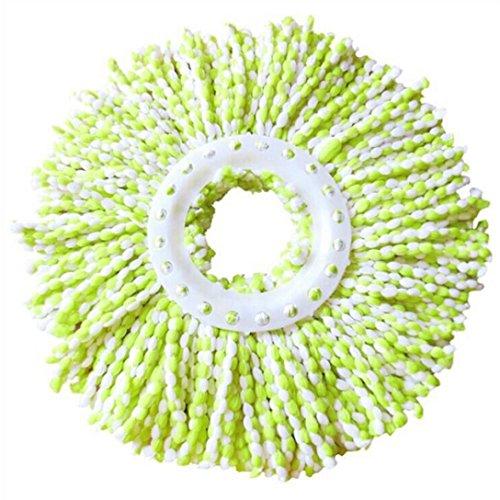 Han Shi Mop Head, Replacement 360 Rotating Head Easy Magic Microfiber Spinning Floor Wiper (L, Green)