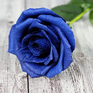 Royal Navy Blue Paper Rose Unique Anniversary Gift For Her Handmade Crepe Paper Flowers for Valentine Birthday Mother Day, Single Long Stem Real Looking, 01 Flower 55