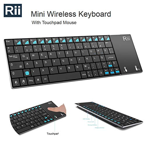 Rii Mini K12 Stainless Steel Cover Wireless Keyboard with Built-in Large Size Touchpad & Rechargable Li-Ion Battery for PC, Laptop, Raspberry Pi 2, Smart TV, - K400 Logitech Keyboard
