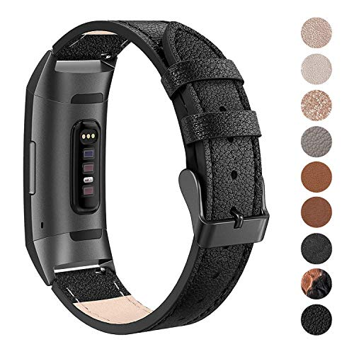 (SWEES Leather Bands Compatible Fitbit Charge 3 & Charge 3 SE Fitness Tracker, Genuine Leather Band Strap Wristband Replacement for Women Men Small & Large, Black, Rose Gold, Beige, Brown,)