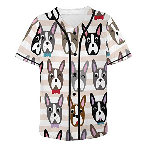 InterestPrint Men's Cute Dog Face Cartoon French Bulldog Baseball Jersey T-Shirt XL