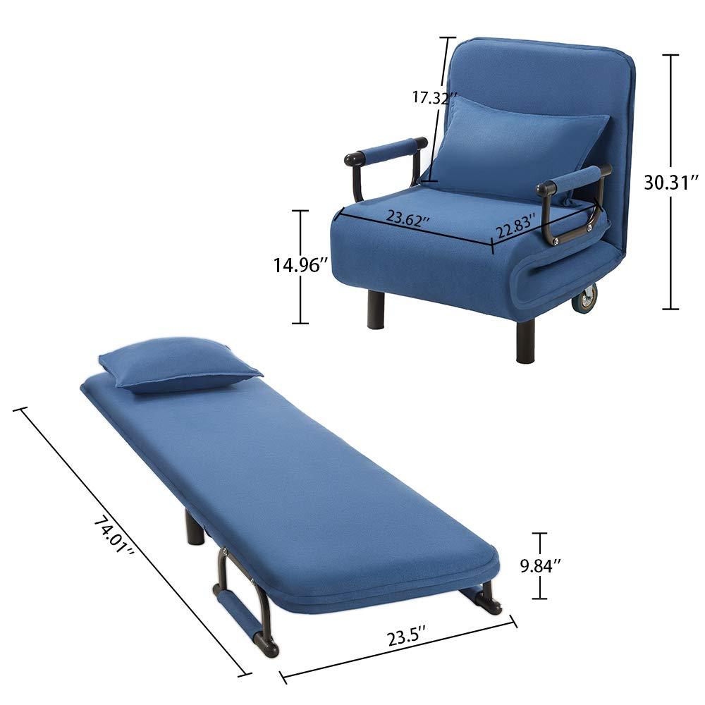 Amazon.com: Sofá cama convertible, 5 posiciones, plegable ...