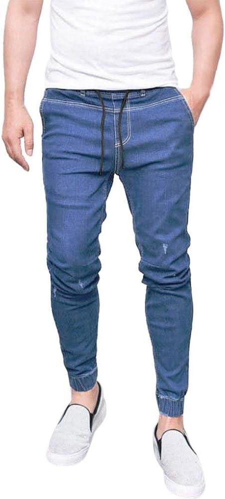 Vaqueros Hombre, Moda Pantalones Vaqueros Ajustados elásticos de ...
