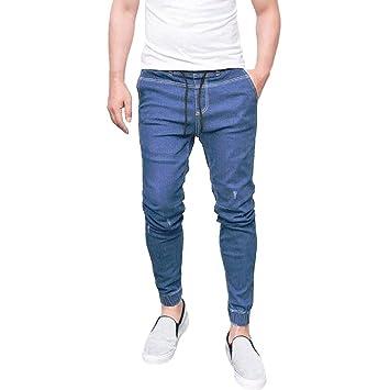 Vaqueros Hombre, Amlaiworld Moda Pantalones Vaqueros Ajustados elásticos de Hombres Pantalones Rectos Largos Casuales de Fitness Pantalones de ...