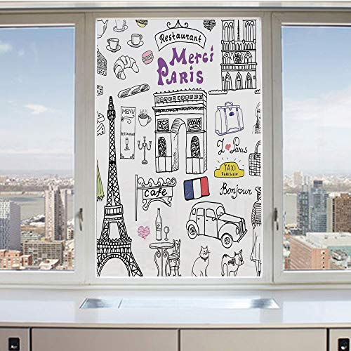 3D Decorative Privacy Window Films,Paris Culture in Doodle Style Drawing Eiffel Tower Beret Croissant Blue Cheese Taxi,No-Glue Self Static Cling Glass film for Home Bedroom Bathroom Kitchen Office 17.
