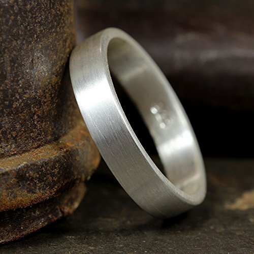 925 Stamped Sterling Silver 4mm Flat Wedding Ring Band