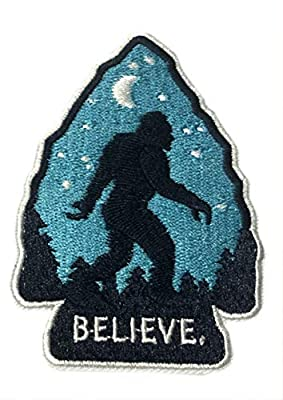 "Bigfoot I Believe 3.5"" Embroidered Patch Iron or Sew-on Monsters Unexplained X-Files Mysteries Cryptid Creature Series Dogman Sasquatch Medusa Adventure Yeti Explorer Flying Saucer Emblem"