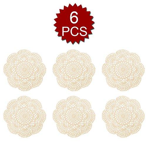 (Aspire 8 inches 6pcs / Set Handmade Crochet Lace Round Tablecloths Cotton Hollow Decorative)
