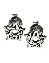 Sterling Silver Crescent Moon Pentacle Pentagram Earring Studs