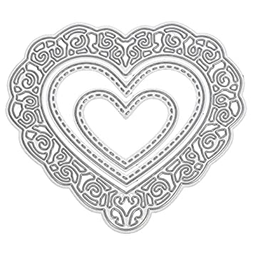 3pcs forma de corazón corte muere Plantillas para repujado para álbumes de recortes álbum Tarjetas de papel Decoración DIY herramienta de pintura: ...