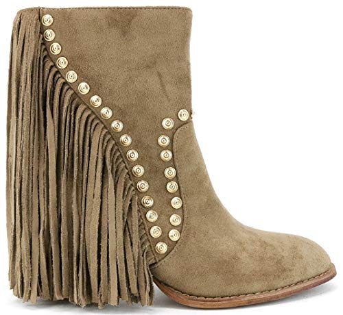 Beast Fashion Ivanna-08 Gold Studded Long Fringe Block Heel Suede Mid Calf Boots (10, ()