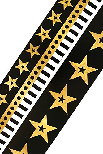 Renewing Minds Glimmer of Gold Stars and Stripes Wide Double-Sided Border Trim, Black/Gold/White, Pack of Twelve 38 inch Strips ()