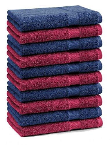 Betz 10er Pack Seiftücher Set Größe 30x30 cm 100% Baumwolle Seiflappen Premium Farbe Dunkel Rot & Dunkel Blau