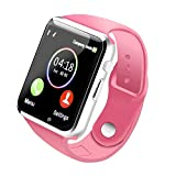Bluetooth Smart Watch A1 - WJPILIS Touch Screen Smart Wrist Watch Smartwatch Phone with SIM Card Slot Camera Pedometer Sport Tracker for IOS iPhone Android Samsung LG for Men Women Child (Pink)