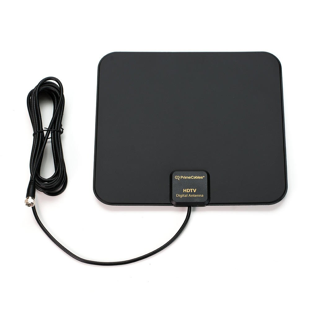 HDTV Antenna Super Thin Digital Indoor Amplified TV Antenna 50 Miles Range Amplified Full HD TV Antenna for High Reception with 10 Feet Long Cable - PrimeCables® Cab-DVB-T825BTA