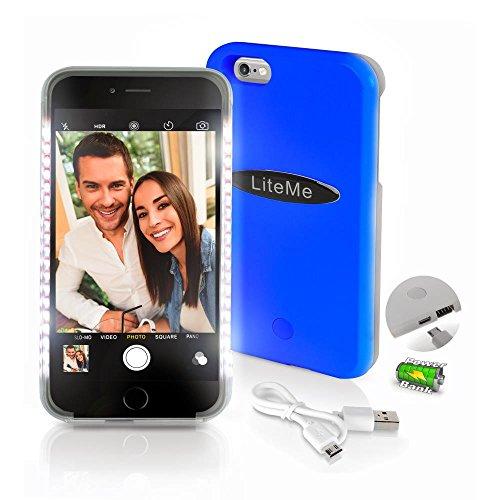 Serene Life SLIP201BL iPhone 6 Plus LED Selfie Light, Power Bank & Battery Case, Blue