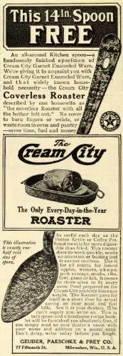 1911 Ad Cream City Coverless Roaster Baking Kitchen Appliances Milwaukee WI. - Original Print Ad from PeriodPaper LLC-Collectible Original Print Archive
