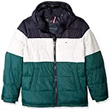 Tommy Hilfiger Men's Insulated Midlength Quilted Puffer Jacket with Fixed Hood,