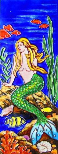 Continental Art Center KD 208 Mermaid with Green Tail Art Tile, 6 by (16 Hand Painted Ceramic Tiles)