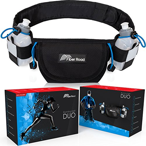 Hydration Running Belt With 2 BPA Free Bottles By Fiber Road | Waterproof Premium Neoprene Fitness Waist Pouch for Men, Women & Kids | Adjustable Fanny Pack For Sports & Outdoors | Wristband Include 2 Hydration Belt