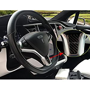 Topfit Car Interior Steering Wheel Cover,Car Carbon fiber Steering Wheel Decoration Cover for Tesla Model S and Model X