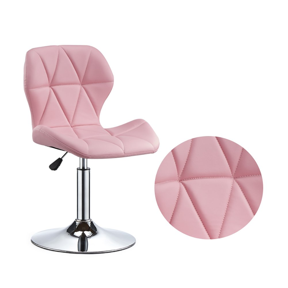 Mesurn Adjustable Height Swivel Chair Beauty Roller Stool,with Wheels,360 Degree Rotation,Strong Chromed Plate Base Max Load 120 Kg for Kitchen Bar Counter (Color : Pink, Size : 40-55cm)