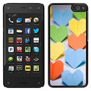 // PHONE CASE GIFT // Duro Estuche protector PC Cáscara Plástico Carcasa Funda Hard Protective Case for Amazon Fire Phone / Paper Heart /