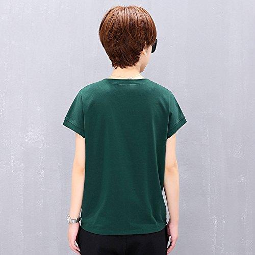 Mujer Y Mangas Cuello Camiseta Ejercito Verde Cortas Puro Corta Para De Redondo Manga Con Algodón Slr Color 6Uw8qU