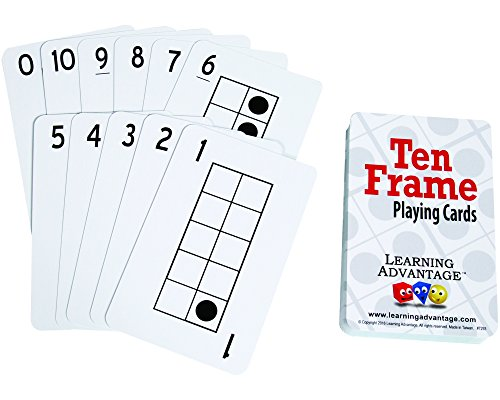- Learning Advantage Ten Frame Playing Cards - 46 Cards - 0-10 Ten Frame Images - Teach Foundational 10 Frame Number Concepts